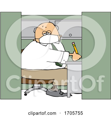 Cartoon Businessman Wearing a Covid19 Mask and Working in a Cubicle by djart