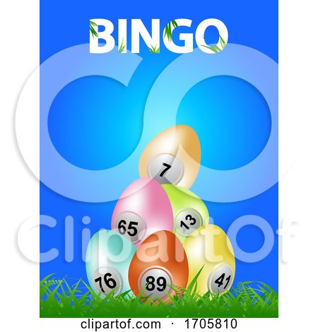 Easter Bingo Eggs on Blue Background and Decorative Text Posters, Art Prints
