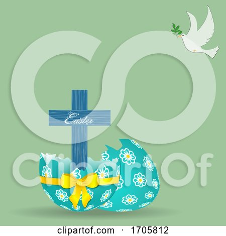 Easter Cross Decorated Egg and Dove Background Posters, Art Prints