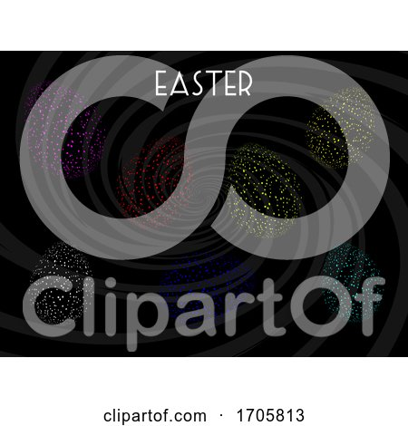 Easter Eggs Neon Fluorescent Dots on Black Posters, Art Prints