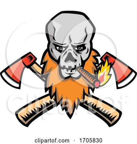 BeardedskullsmokingcrossedaxMASCOT by patrimonio