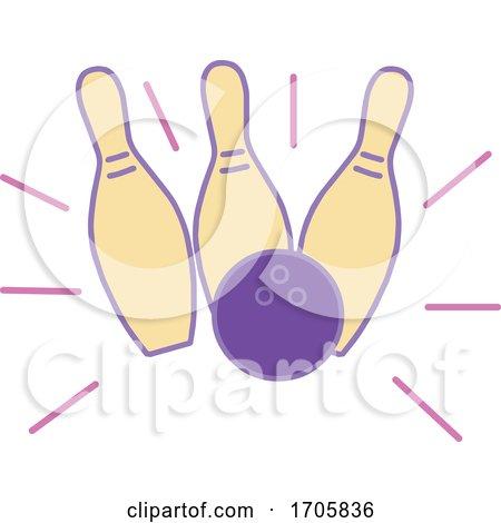 Bowling Ball Hitting Strike Monoline by patrimonio