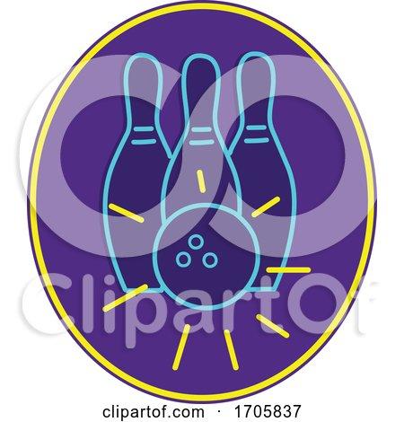 Ten Pin Bowling Neon Sign by patrimonio