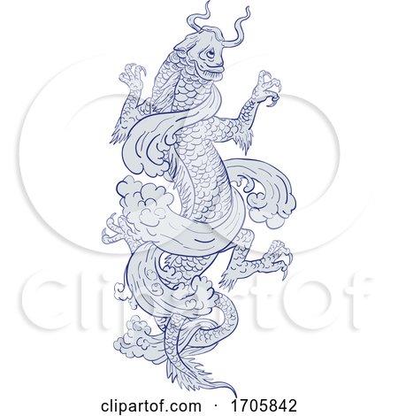 Koi Carp Transforming into Dragon Tattoo Drawing by patrimonio