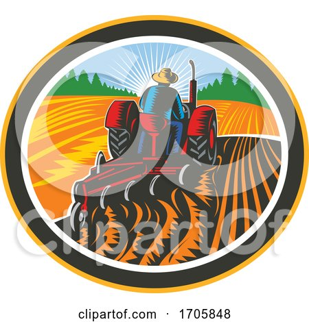Farmer Driving Tractor Plowing Field Circle Retro Posters, Art Prints