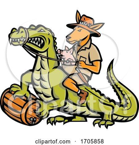 Kangaroo pig riding crocodile ISO MASCOT by patrimonio