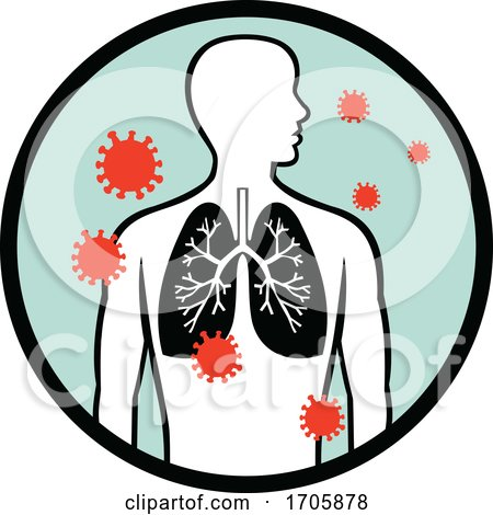 Coronavirus Infecting Human Lung Circle Retro by patrimonio