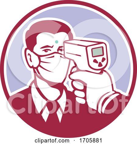 Coronavirus Screening Icon Retro by patrimonio