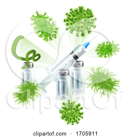 Vaccine Syringe Virus Vaccination Medical Concept by AtStockIllustration