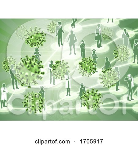 Virus Cells Viral Spread Pandemic People Concept by AtStockIllustration