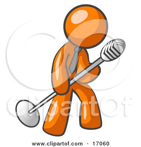 Orange Man In A Tie, Singing Songs On Stage During A Concert Or At A Karaoke Bar While Tipping The Microphone Clipart Illustration by Leo Blanchette