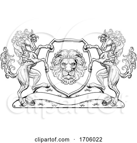 Crest Coat of Arms Horse Lion Family Shield Seal by AtStockIllustration