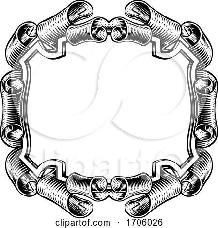 Crest Banner Border Scroll Heraldic Woodcut Frame by AtStockIllustration