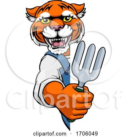 Tiger Gardener Gardening Animal Mascot Posters, Art Prints