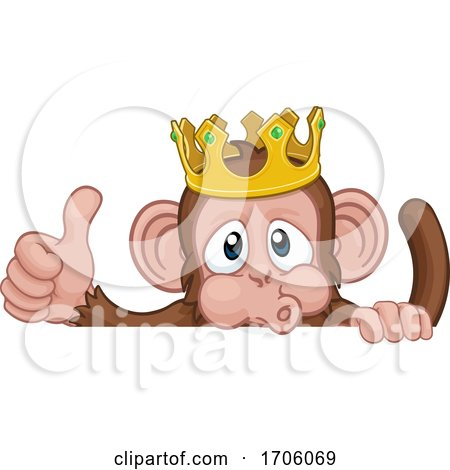 Monkey King Crown Cartoon Animal Thumbs up Sign by AtStockIllustration