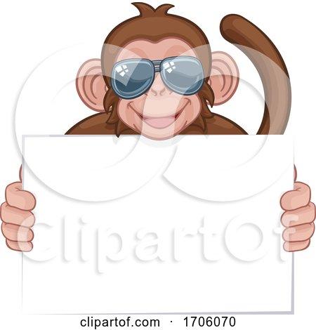 Monkey Sunglasses Cartoon Animal Holding Sign Posters, Art Prints