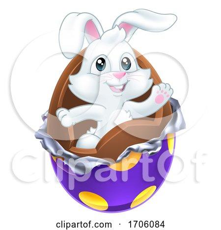 Easter Bunny Rabbit Breaking Chocolate Egg Cartoon Posters, Art Prints