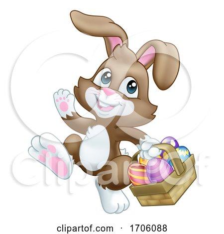 Easter Bunny Rabbit Eggs Basket Cartoon Posters, Art Prints