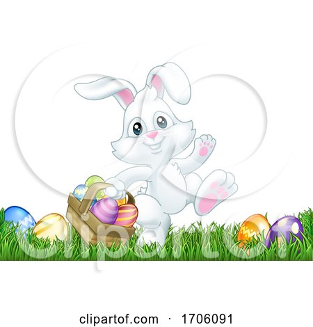 Easter Bunny Rabbit Eggs Basket Background Cartoon Posters, Art Prints