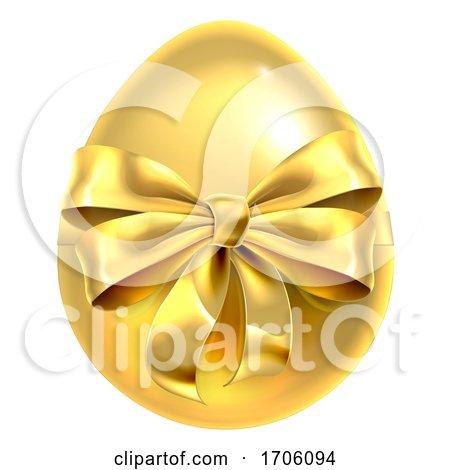 Golden Easter Egg Bow Ribbon Design Posters, Art Prints