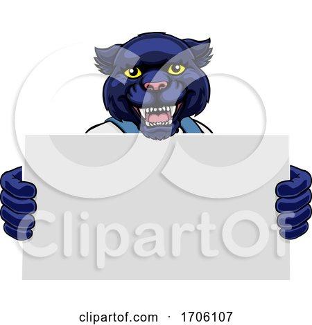Panther Cartoon Mascot Handyman Holding Sign Posters, Art Prints
