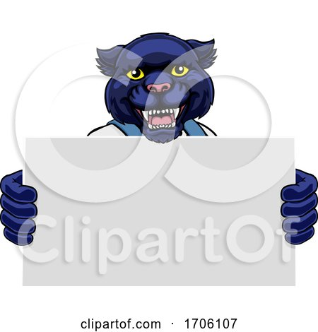 Panther Cartoon Mascot Handyman Holding Sign by AtStockIllustration