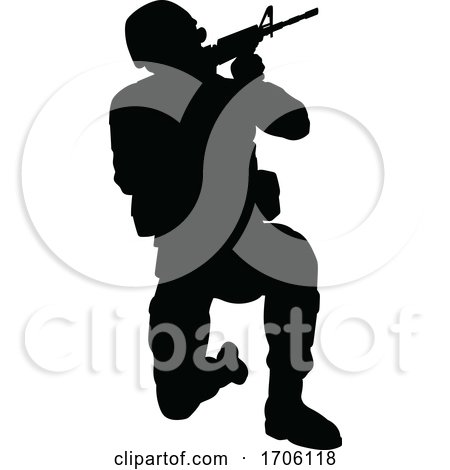 Soldier High Quality Silhouette by AtStockIllustration