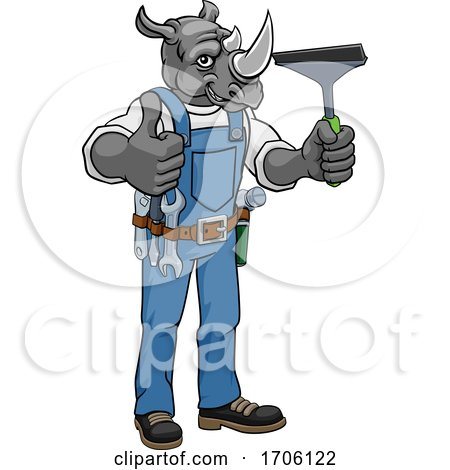 Rhino Car or Window Cleaner Holding Squeegee by AtStockIllustration