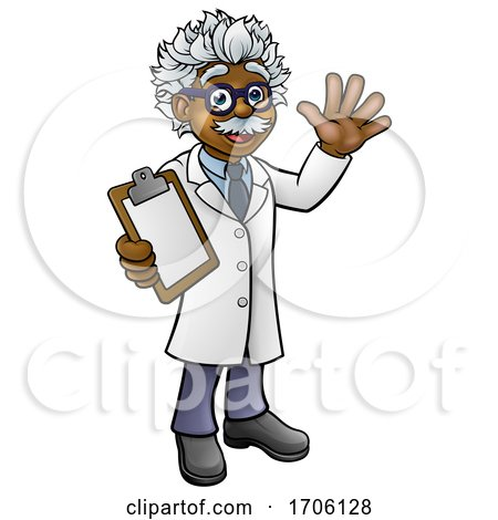 Cartoon Scientist Professor with Clipboard by AtStockIllustration