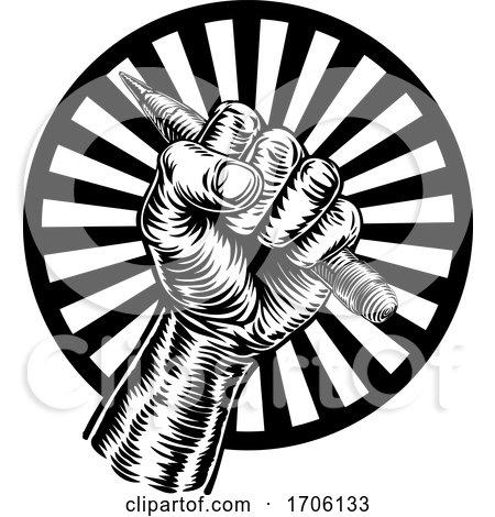 Hand Holding Pencil by AtStockIllustration