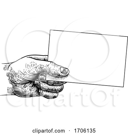 Hand Holding Business Card Flyer Note Frame Sign by AtStockIllustration