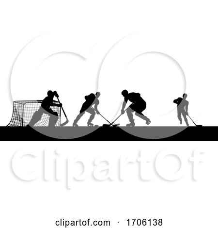 Ice Hockey Players Silhouette Match Game Scene by AtStockIllustration