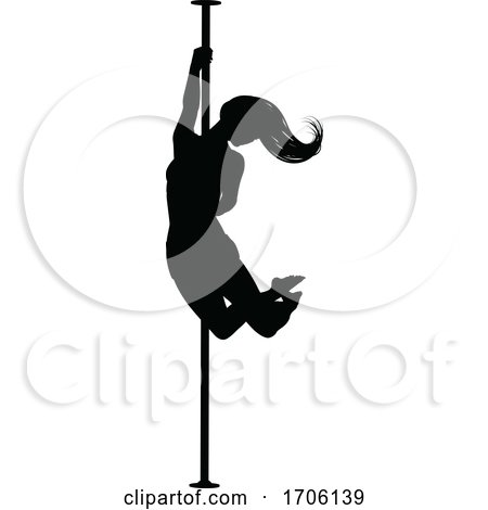 Pole Dancing Woman Silhouette by AtStockIllustration