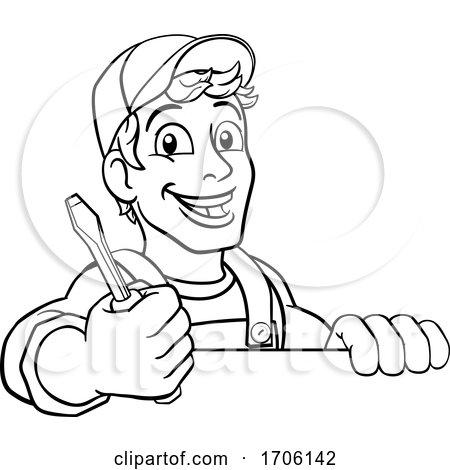 Electrician Cartoon Handyman Plumber Mechanic Posters, Art Prints