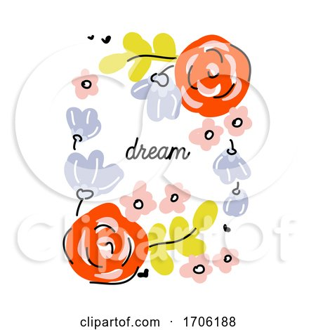 Vector Illustration in Simple Naive Style of Abstract Floral Design with Cute Flowers Posters, Art Prints
