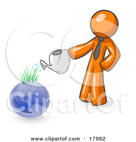Orange Man Using A Watering Can To Water New Grass Growing On Planet Earth, Symbolizing Someone Caring For The Environment Clipart Illustration by Leo Blanchette