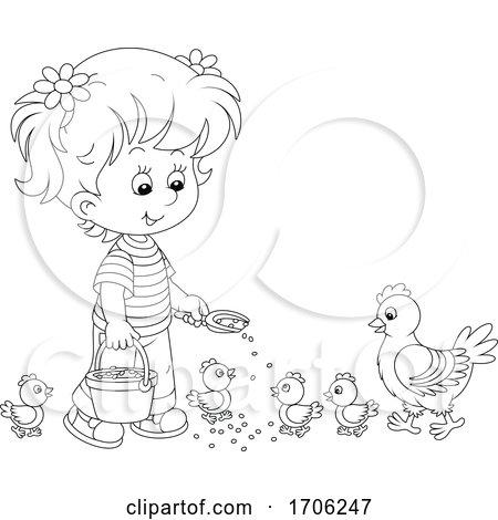 Girl Feeding Chickens Posters, Art Prints