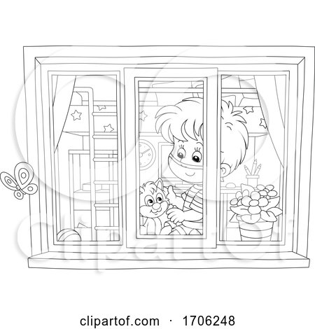 Boy Wearing a Covid19 Mask and Petting His Kitty on a Window Sill by Alex Bannykh