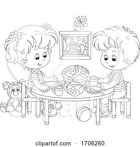 Children Having a Tea Party Posters, Art Prints