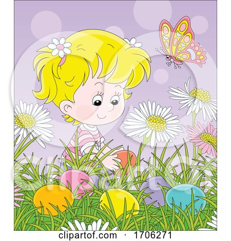 Girl Hiding or Finding Easter Eggs Posters, Art Prints