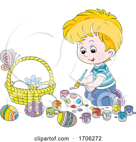 Boy Painting Easter Eggs Posters, Art Prints