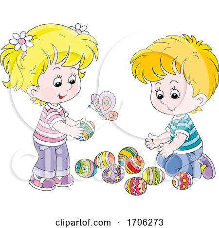 Children with Easter Eggs Posters, Art Prints
