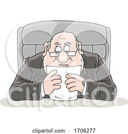 Cartoon Fat Politician Reading a Statement by Alex Bannykh