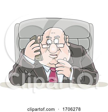 Cartoon Fat Politician Talking on a Cell Phone by Alex Bannykh