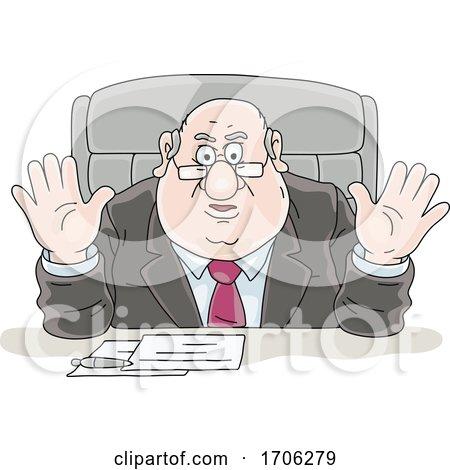 Cartoon Fat Politician Acting Defensive by Alex Bannykh