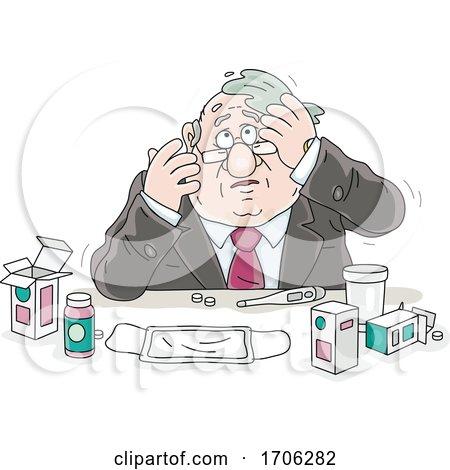 Cartoon Fat Politician with Flu Medication by Alex Bannykh
