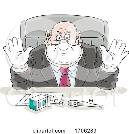 Cartoon Fat Politician Wearing Gloves and a Mask by Alex Bannykh