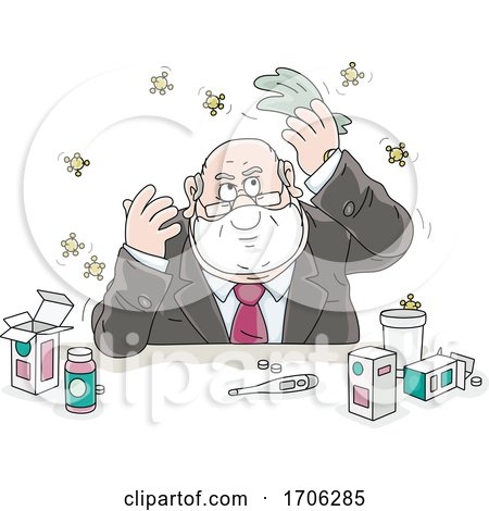Cartoon Fat Politician with Germs or Viruses by Alex Bannykh