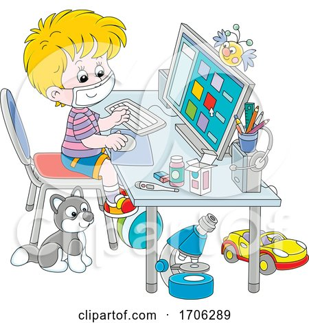 Boy Wearing a Mask and Using a Computer by Alex Bannykh