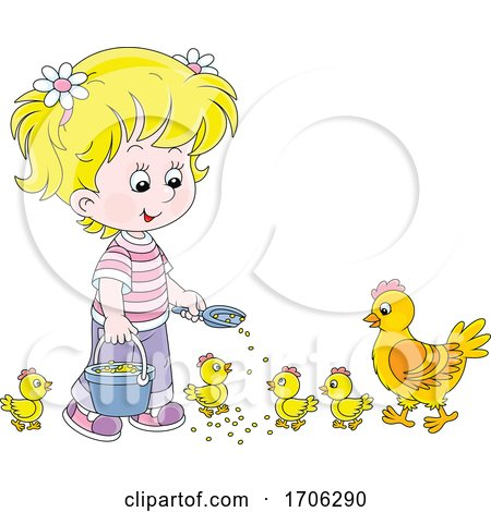 Girl Feeding Chickens Posters, Art Prints
